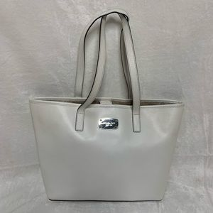Michael Kors White Leather Tote With Snap Closure